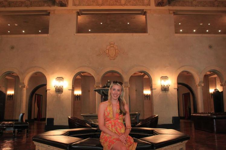The beautiful main lobby fountain. Wearing Kookai silk floral halter dress.