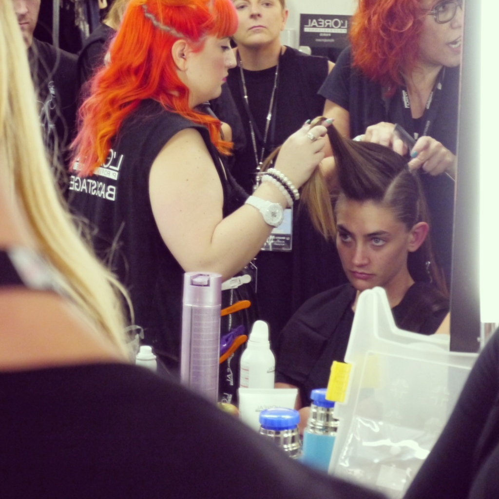 Artistic Director of Heading Out Academy and Showpony Hair Extensions advocate, Caterina Di Biase working her magic on one of the models.