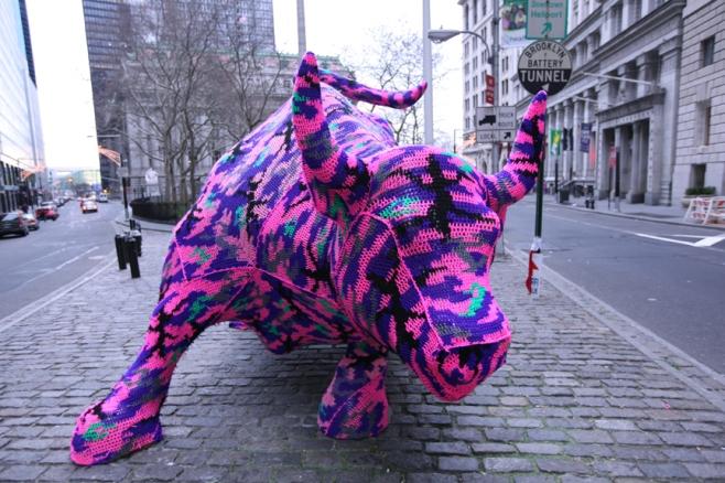 Olek crocheted Bull of Wall Street. Guerrilla crotchet at its finest. Image courtesy of olekappeal.com.