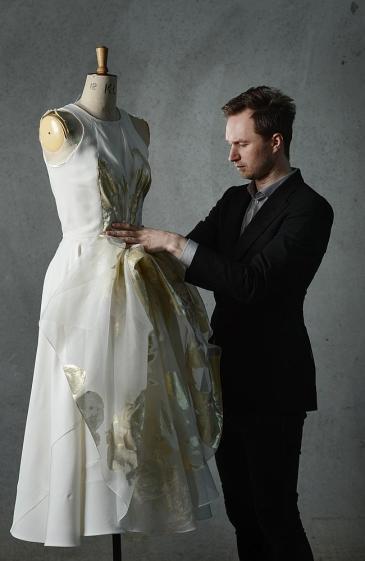 FOR WEEKEND ONLYMelbourne fashion designer Toni Maticevski at his Yarraville studio. He made Jennifer Hawkins wedding dress.